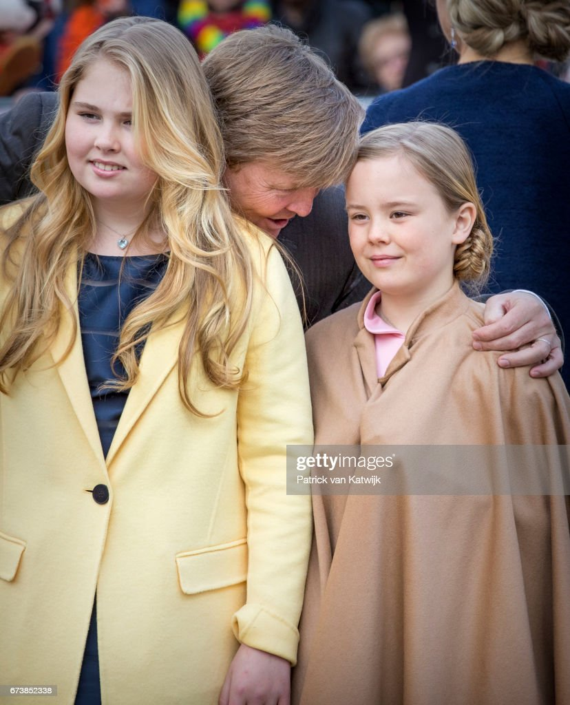 King Willem-Alexander, Princess Amalia and Princess Ariane attend the King's 50th birthday during the Kingsday celebrations on April 27, 2017 in Tilburg, Netherlands.
