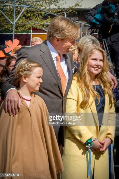 King WillemAlexander Princess Amalia and Princess Ariane of The Netherlands attend the King's 50th birthday during the Kingsday celebrations on April...