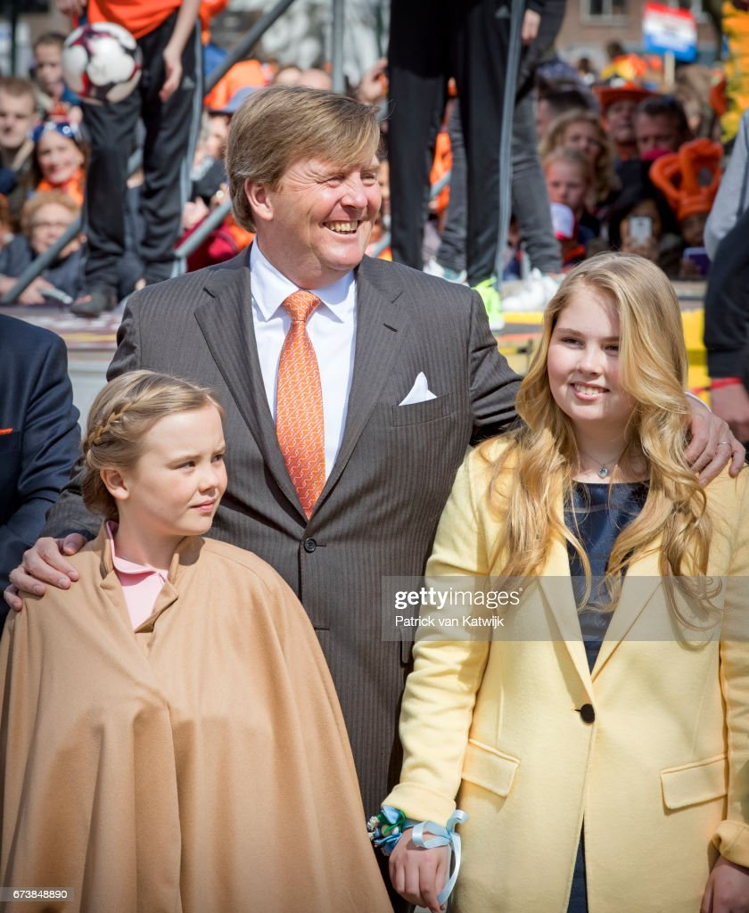 King Willem-Alexander, Princess Ariane and Princess Amalia attend the King's 50th birthday during the Kingsday celebrations on April 27, 2017 in Tilburg, Netherlands.