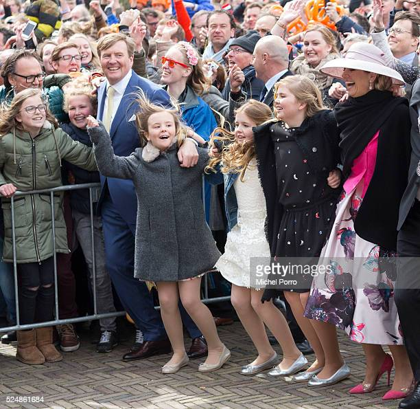 King Willem-Alexander, Princess Ariane, Princess Alexia, Princess Catharina-Amalia and Queen Maxima of The Netherlands dance during celebrations...