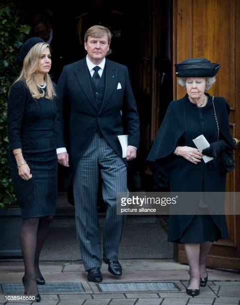 King WillemAlexander Queen Maxima and Princess Beatrix of The Netherlands attend the funeral service of Prince Richard zu SaynWittgensteinBerleburg...
