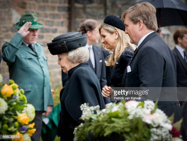 King Willem-Alexander, Queen Maxima and Princess Beatrix of The Netherlands attend the funeral of Prince Richard at the Evangelische Stadtkirche on...
