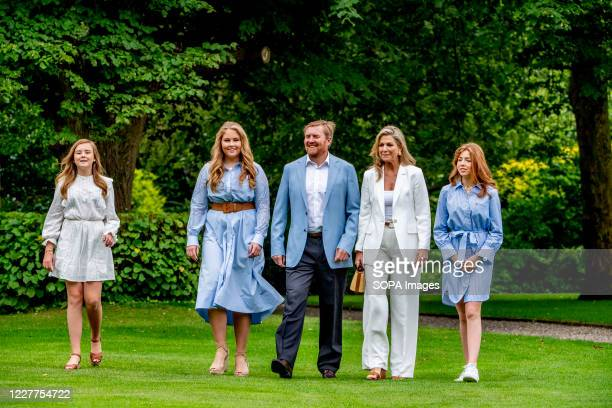 King Willem-Alexander, Queen Maxima and princesses Amalia, Alexia and Ariane are seen at the garden of Paleis Huis ten Bosch during the traditional...