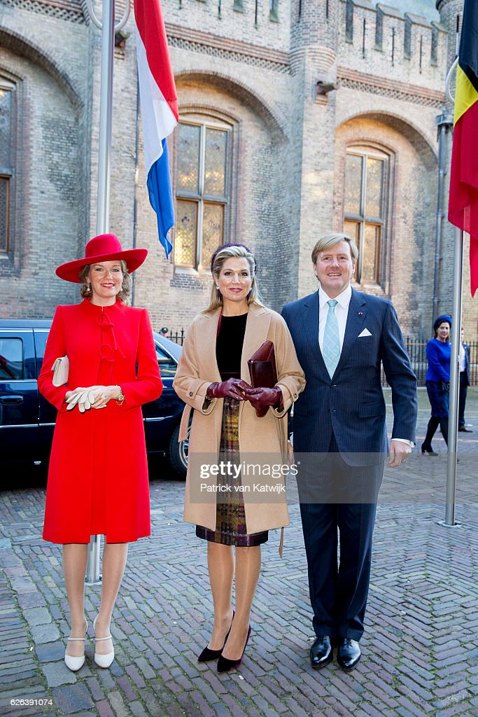 King Willem-Alexander, Queen Maxima and Queen Mathilde arrive at the Binnenhof to attend the government lunch in the Ridderzaal on November 29, 2016 in The Hague, Netherlands.
