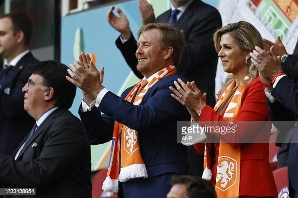 King Willem-Alexander, Queen Maxima during the UEFA EURO 2020 Group C match between the Netherlands and Ukraine at the Johan Cruijff ArenA on June...