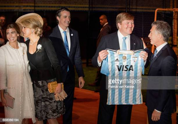 King WillemAlexander Queen Maxima of The Netherlands and President Mauricio Macri of Argentina and his wife Juliana Awada visit the Hockey Clinics in...