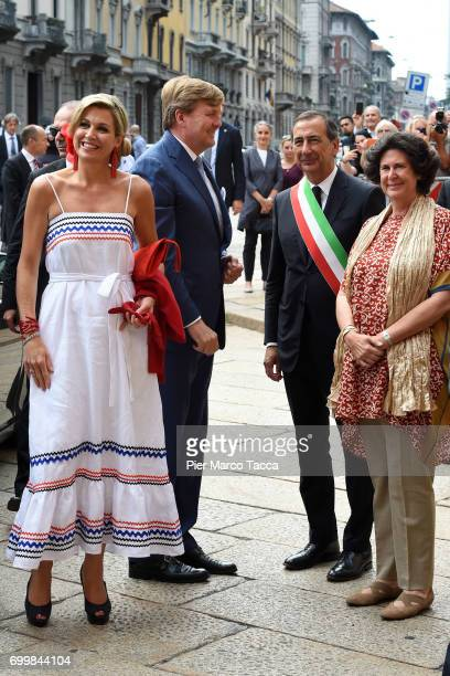King WillemAlexander Queen Maxima of The Netherlands Mayor of Milan Giuseppe Sala and Ilaria Borletti Buitoni arrive for the visit at the Cenacolo...