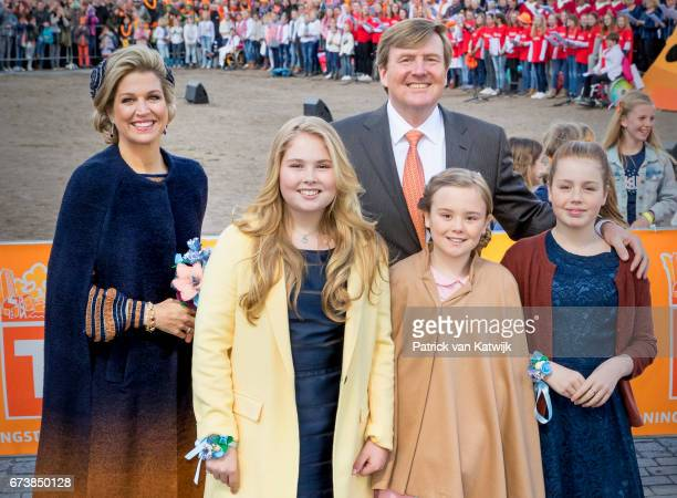 King WillemAlexander Queen Maxima Princess Amalia Princess Alexia and Princess Ariane attend the King's 50th birthday during the Kingsday...