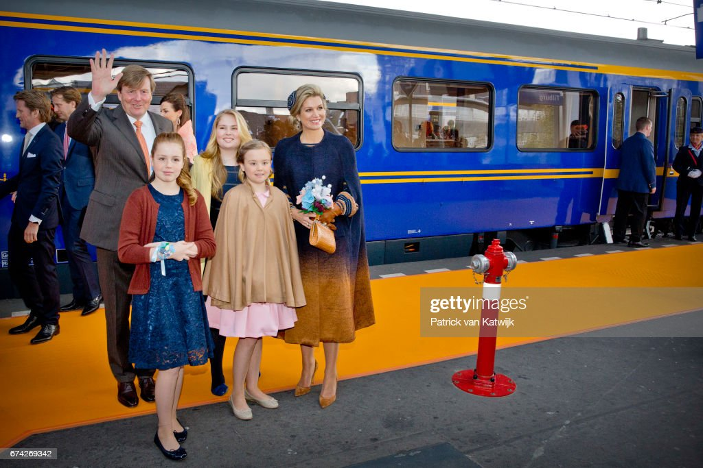 King Willem-Alexander, Queen Maxima, Princess Amalia, Princess Alexia and Princess Ariane of The Netherlands attend the King's 50th birthday during the Kingsday celebrations on April 27, 2017 in Tilburg, Netherlands.