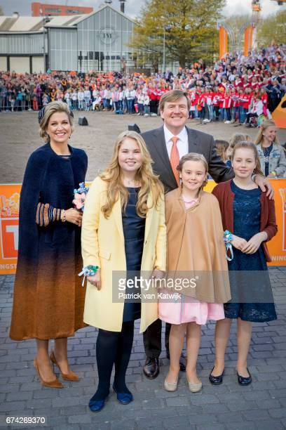 King Willem-Alexander, Queen Maxima, Princess Amalia, Princess Alexia and Princess Ariane of The Netherlands attend the King's 50th birthday during...