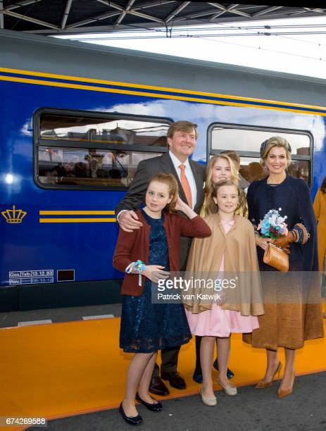 King WillemAlexander Queen Maxima Princess Amalia Princess Alexia and Princess Ariane of The Netherlands attend the King's 50th birthday during the...
