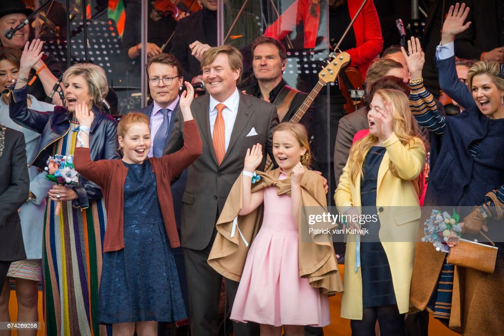 King Willem-Alexander, Queen Maxima, Princess Amalia, Princess Alexia, Princess Ariane, Prince Constantijn and Princess Laurentien of The Netherlands attend the King's 50th birthday during the Kingsday celebrations on April 27, 2017 in Tilburg, Netherlands.