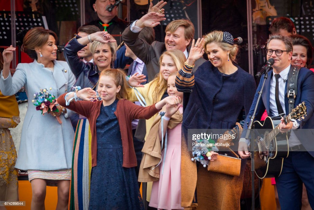 King Willem-Alexander, Queen Maxima, Princess Amalia, Princess Alexia, Princess Ariane, Prince Constantijn, Princess Laurentien and Princess Marilene of The Netherlands attend the King's 50th birthday during the Kingsday celebrations on April 27, 2017 in Tilburg, Netherlands.