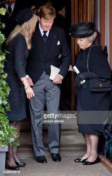 King WillemAlexander Queen Máxima and Princess Beatrix of the Netherlands leave at the Evangelische Stadtkirche in Bad Berleburg on March 21 after...