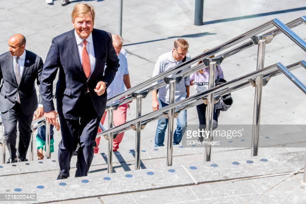 King WillemAlexander seen walking on the stairs as he makes a working visit to Utrecht Central Station following the impact of the coronavirus...