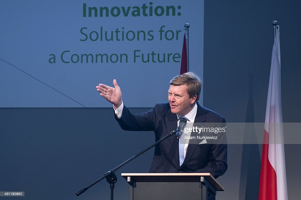 King Willem-Alexander speaks while the Polish-Dutch Economic Forum 'Innovation: Solutions for a common future' at National Stadium as part of his trip to Poland on June 25, 2014 in Warsaw, Poland.