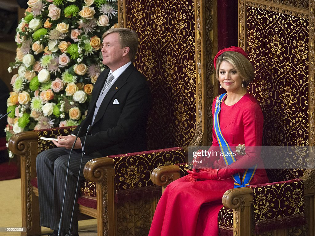 King Willem-Alexander, with Queen Maxima of the Netherlands, delivers an address to the government on budget day in the Hall of Knights, on September 16, 2014 in The Hague, Netherlands. The Dutch King officialy opened the parliamentary year by reading a speech outlining the government plans for the year ahead.
