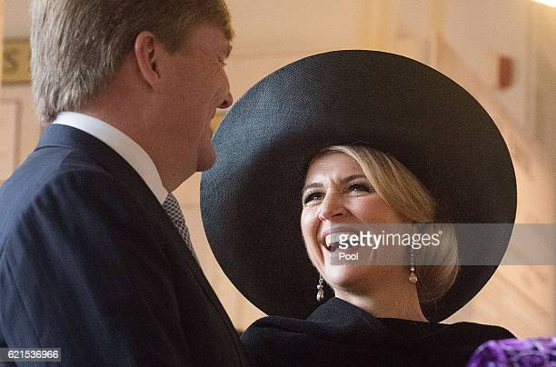 King WillemAlexander with Queen Maxima of the Netherlands look through Sir Peter Jacksons Great War Exhibition at the Old Buckle Street Museum on...