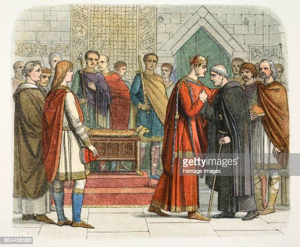 King William I pays court to the English leaders William the Conqueror the first Norman King of England receiving the English leaders after the...