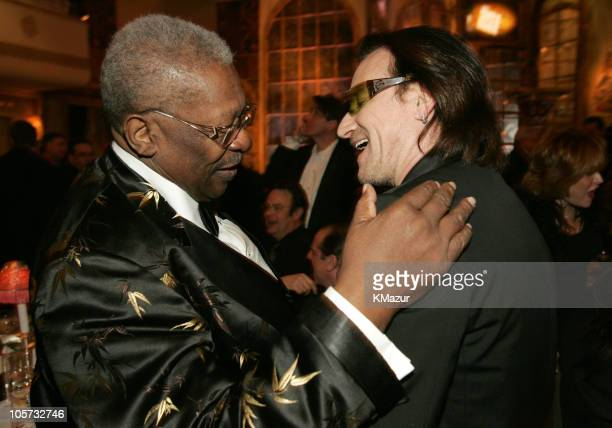 King with Bono of U2, inductee during 20th Annual Rock and Roll Hall of Fame Induction Ceremony - Dinner at Waldorf Astoria in New York City, New...