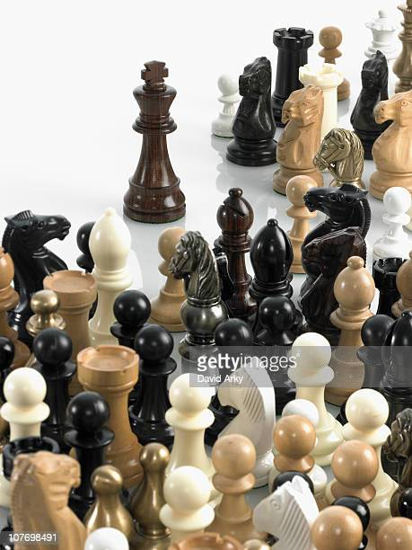 King with group of chess pieces