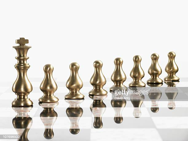 King with pawn chess pieces on board