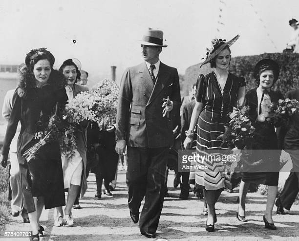 King Zog and Queen Geraldine of Albania with the King's three sisters arriving at Solliden Skansen July 21st 1939