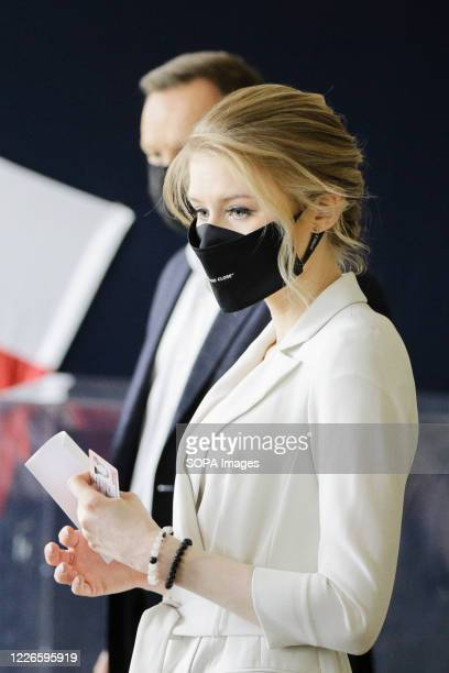 Kinga Duda the daughter of Polish presidential couple seen at the polling station while preparing her identity card The incumbent President of Poland...