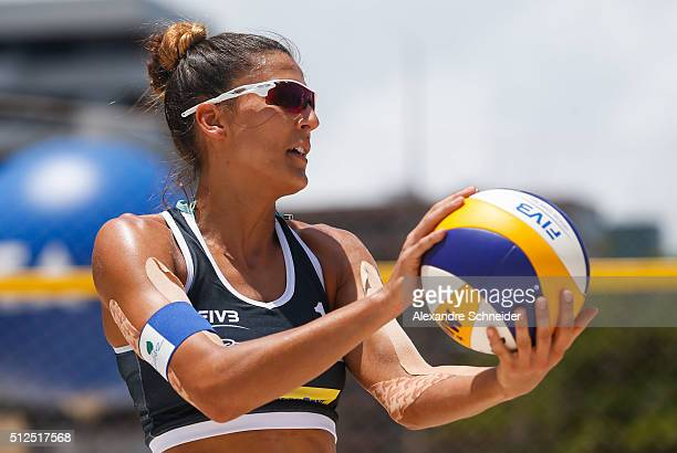 Kinga Kolosinska of Poland competes in the main draw match against Czech Republic at Pajucara beach during day four of the FIVB Beach Volleyball...