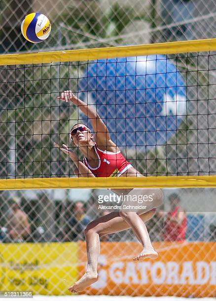 Kinga Kolosinska of Poland in action during the main draw match against Finland at Pajucara beach during day three of the FIVB Beach Volleyball World...