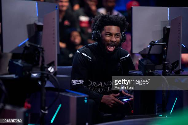 KingCamRoyalty of the Magic Gaming reacts during the game against the Celtics Crossover Gaming on August 11 2018 at the NBA 2K Studio in Long Island...