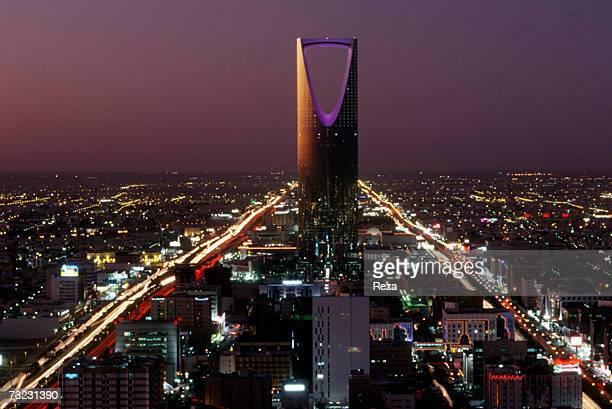 Kingdom Center the tallest skyscraper in Saudi Arabia dominates the evening cityscape on December 2002 in Riyadh Saudi Arabia