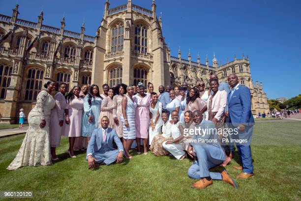 Kingdom Choir outside StGeorge's Chapel in Windsor Berkshire after performing at the wedding