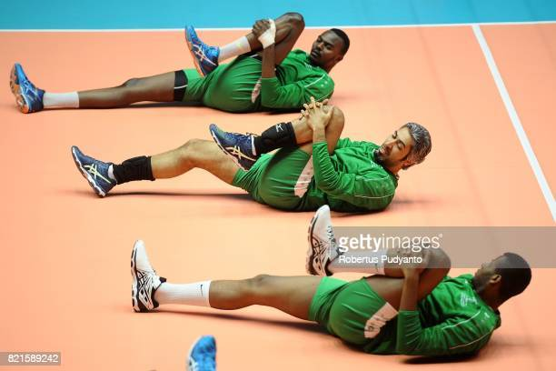 Kingdom of Saudi Arabia players warm up during the 19th Asian Senior Men's Volleyball Championship Preliminary Round match between Indonesia and...