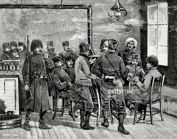 Kingdom of Serbia Reign of King Milan I of Serbia Belgrade Military and civilians discussing politics in a tavern Engraving by Rico La Ilustracion...