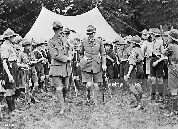 An undated picture of British General Lord BadenPowell surrounded by the members of the Boy Scout movement somewhere in Hartfordshire during a...