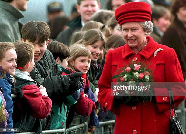 Excited children watch HRH Elizabeth II during the opening ceremony for the Lagan Bridge in Belfast Northern Ireland 09 March This is the first visit...