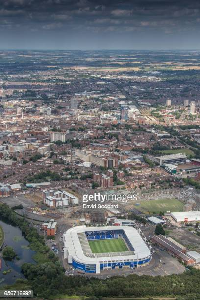 KINGDOM'u2013AUGUST 06 An aerial view of the city of Leicester and the King Power Stadium built on the banks of the River Soar Leicestershire on...