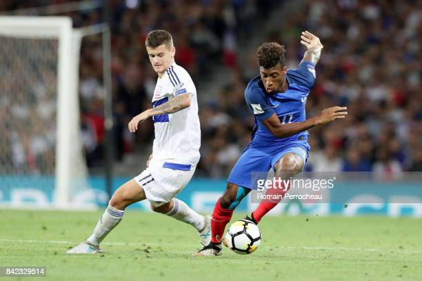 Kinglsey Coman of France in action during the FIFA 2018 World Cup Qualifier between France and Luxembourg at Stadium on September 3 2017 in Toulouse...