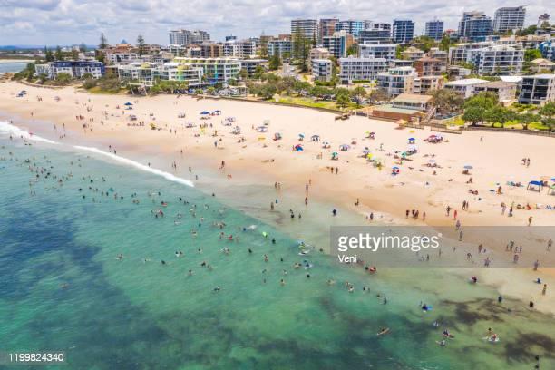 kings beach, sunshine coast, queensland, australia - sunshine coast australia stock pictures, royalty-free photos & images