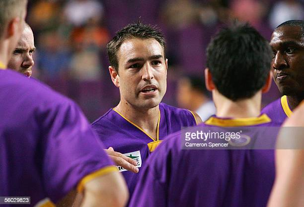 Kings captain Jason Smith talks to players during the round nine NBL match between the Sydney Kings and the West Sydney Razorbacks at the Sydney...