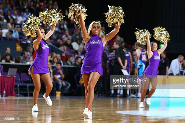 Kings cheerleaders dance during a time out during the round two NBL match between the Sydney Kings and the Melbourne Tigers at Sydney Entertainment...