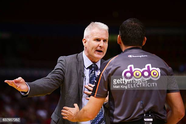 Kings coach Andrew Gaze argues with an umpire during the round 17 NBL match between the Sydney Kings and the New Zealand Breakers at Qudos Bank Arena...