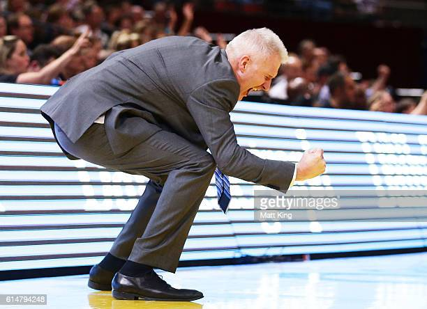 Kings coach Andrew Gaze celebrates victory during the round two NBL match between the Sydney Kings and the Cairns Taipans at Qudos Bank Arena on...