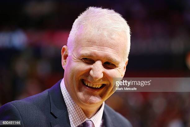 Kings coach Andrew Gaze looks on during the round 11 NBL match between Sydney and Illawarra on December 23 2016 in Sydney Australia
