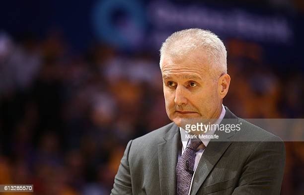 Kings coach Andrew Gaze reacts during the round one NBL match between the Sydney Kings and the Brisbane Bullets at Qudos Bank Arena on October 8 2016...