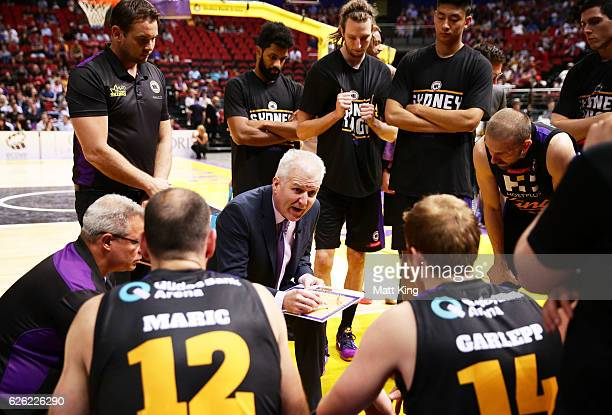 Kings coach Andrew Gaze speaks to his players during a time out during the round eight NBL match between the Sydney Kings and the Adelaide 36ers at...