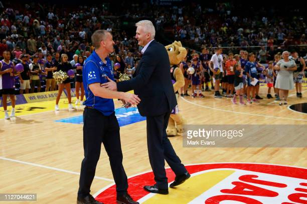 Kings Coach Andrew Gaze talks to Bullets coach Andrej Lemanis after the round 16 NBL match between the Sydney Kings and the Brisbane Bullets at Qudos...