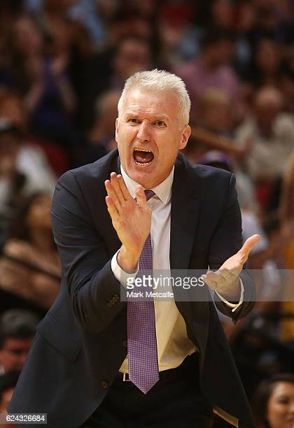 Kings coach Andrew Gaze talks to players during the round seven NBL match between the Sydney Kings and the Perth Wildcats at Qudos Bank Arena on...