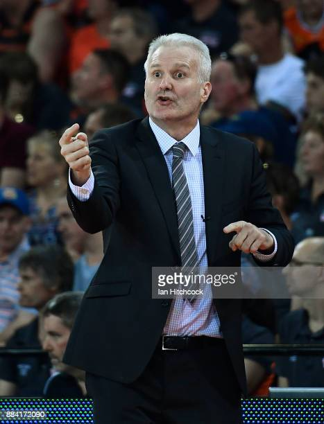 Kings coach Andrew Gaze yells instructions to his players during the round eight NBL match between the Cairns Taipans and the Sydney Kings at Cairns...